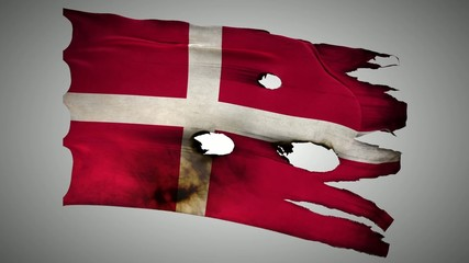 Denmark perforated, burned, grunge waving flag loop alpha