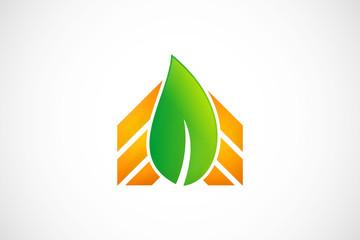 eco leaf building logo