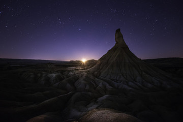 Moonset over Bardenas