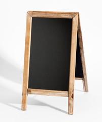 Blank A-frame blackboard on white