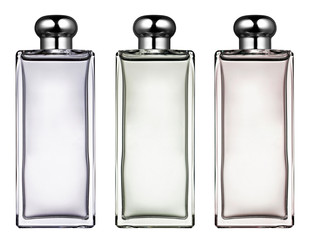 Three stylish rectangular glass bottles
