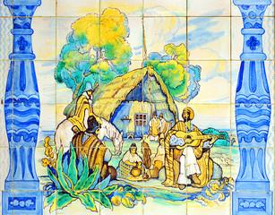 Escena de gauchos, azulejo decorativo