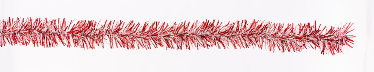 Banner of isolated red Christmas tinsel