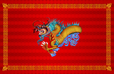 Red chinese dragon on red background