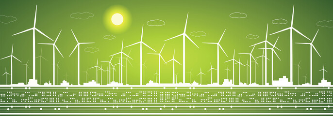 Energy landscape, eco panorama, windmills, vector lines