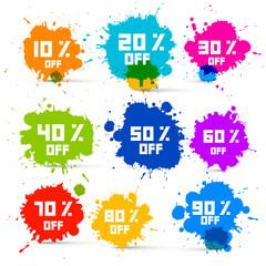 Transparent Colorful Vector Discount Sale Splashes Set