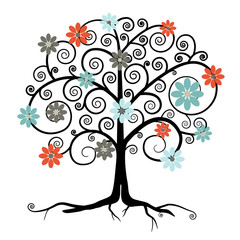 Vector Tree in Blossom Isolated on White Background