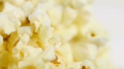 Macro footage of popcorn In Rotation