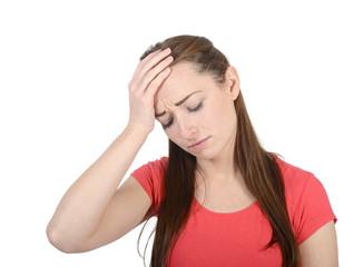 junge Frau hat Kopfschmerzen, Migräne,   Studio