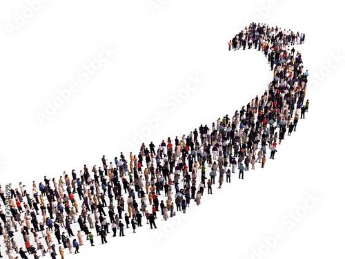 crowd in the shape of an arrow