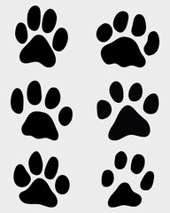 Black print of paw of cats, vector illustration