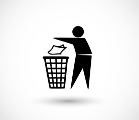 Recycle icon vector, dust bin