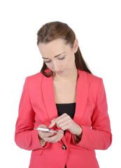 freundliche Geschäftsfrau mit smartphone, Studio