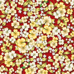 abstract yellow floral ornament on red