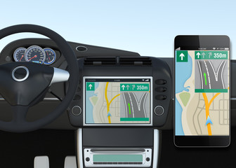Smart car navigation system synchronized with smart phone