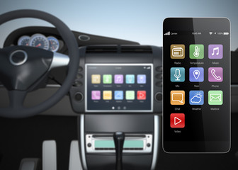 Car multimedia console synchronized with smart phone