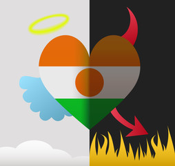Niger angel and devil heart