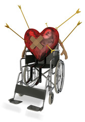 Injured Love Heart on Wheelchair with Cupid's Arrow