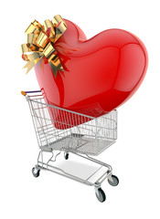 Trolley with Enormous Heart on White Background