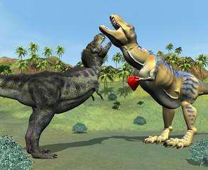 Male Dinosaur giving Love Heart to Female Dinosaur