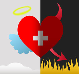 Switzerland angel and devil heart
