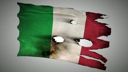 Italian perforated, burned, grunge waving flag loop alpha