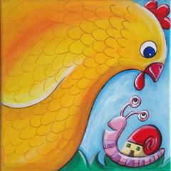 A Chicken Meets A Snail