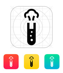 Test tube with dangerous substance icon. Vector illustration.