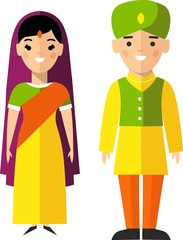Vector illustration of indian male and female