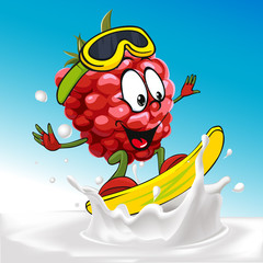 funny raspberry cartoon surfing on milk splashing