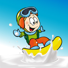 funny boy cartoon surfing on milk splashing wave
