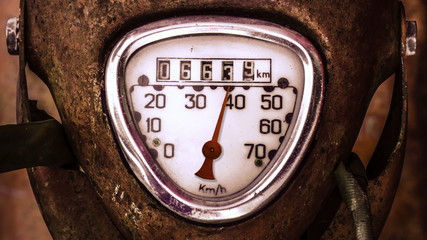 Moving Needle On Speedometer Of Grungy Scooter Or Moped