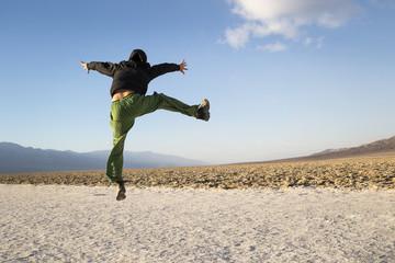 Jumping. Death Valley, CA.