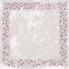 Floral Frame at Vintage Grunge Background