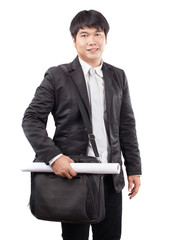 young business man and computer laptop suit bag and handle paper