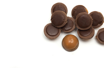 Round chocolates. Photo.