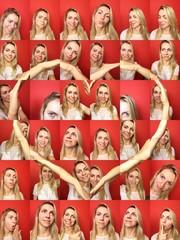 Frau zeigt Herz zu Valentinstag aus Liebe