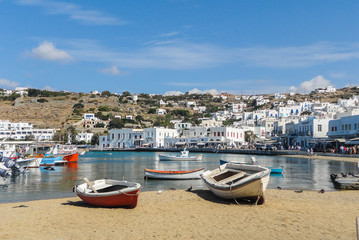 Cove on the island of Mykonos town with fishing boats