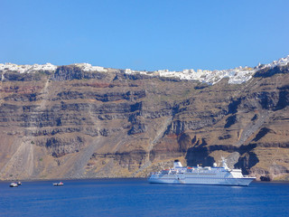 Little cruise ship in Santorini, Greece