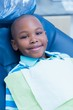 canvas print picture - Portrait of boy waiting for dental exam