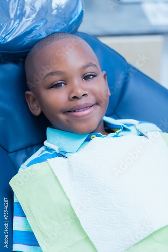 canvas print picture Portrait of boy waiting for dental exam