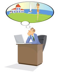 Manager dreams in office