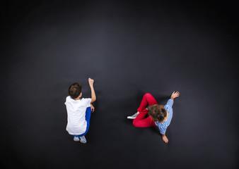 Boy and girl having fun together.
