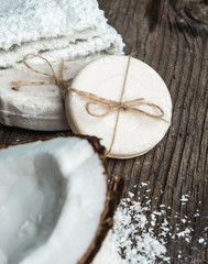 Natural coconut soap Spa setting