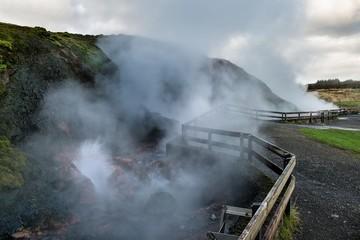 """Heisse Quellen """"Deildartunguhver"""" in Island"""