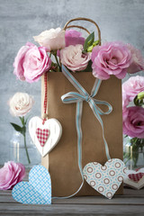 St. Valentines Day horizontal background with flowers, hearts an