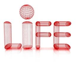 "3d text ""life"""