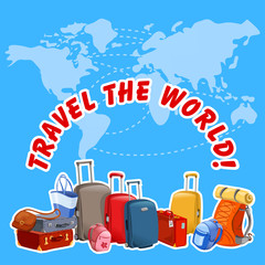 illustration with suitcases and map of the world