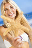 Beautiful Woman Girl In Bikini With Starfish At Beach