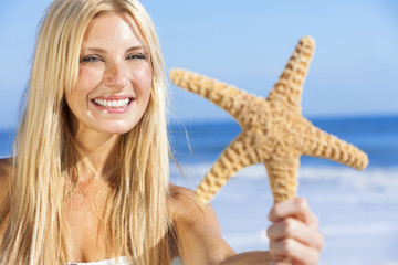 Beautiful Woman Girl In Bikini With Starfish At Beach